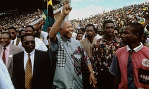 Nelson Mandela campaigning in northern Transvaal<br>during the 1994 presidential election campaign