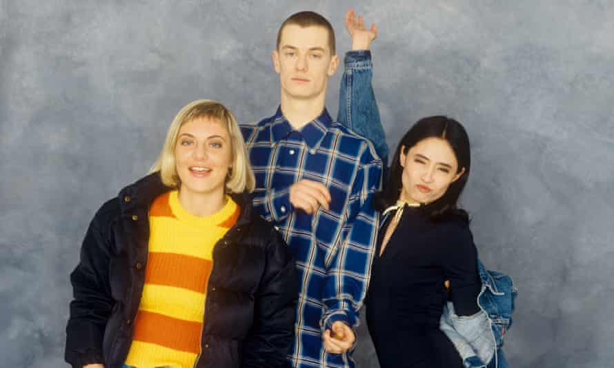 Miranda in 1993 with Paul Tonkinson and Rima Chehlaoui, her co-presenters on ITV's Raw Soup