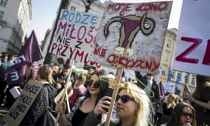 A protest in Kraków in April against plans to tighten the law on abortion in Poland