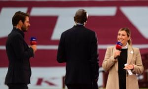 Kelly Cates talks to Jamie Redknapp and Ian Taylor at half-time during Aston Villa v Sheffield United at Villa Park.