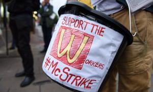 A McDonald's strike in London in September 2017.