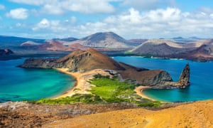 Beaches on Bartolome, one of the remote Galápagos islands which are visited on the 24-day world tour.