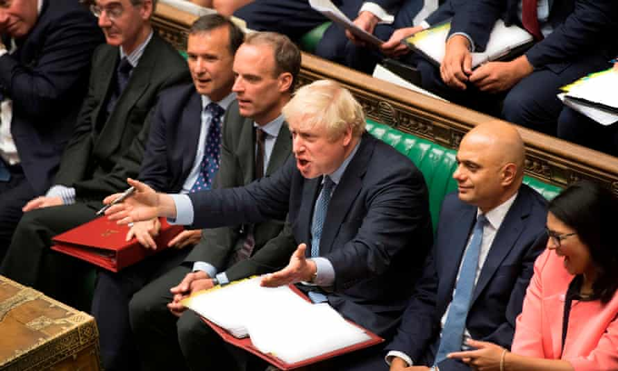 Prime Minister Boris Johnson gestures as he reacts to Labour party leader Jeremy Corbyn during his first Prime Minister's Questions in the House of Commons on 4 September 4.