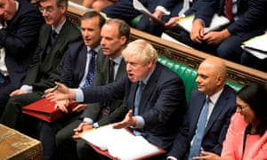 Boris Johnson during his first prime minister's questions in the House of Commons.