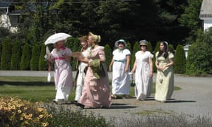 Women taking part in Jane Austen cosplay at Governor's House in Hyde Park, Vermont