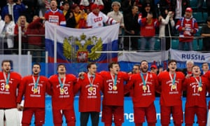 The OAR team receiving their gold medal - only the second victory of the Games for the athletes from Russia