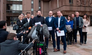 Steve Walters, Gary Cliffe, Chris Unsworth and Micky Fallon, victims of Barry Bennell, speak outside Liverpool crown court after the former coach's conviction