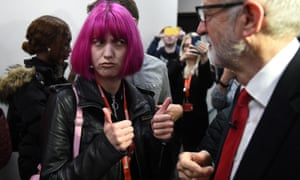 A supporter gestures to Jeremy Corbyn after his speech at Northampton Saints rugby club in Northampton