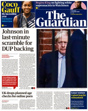 Guardian front page, Thursday 17 October 2019