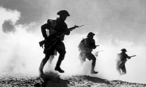 British troops advancing during the Battle of El Alamein.