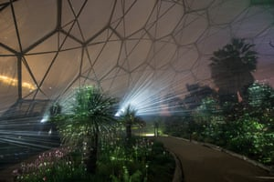 A view inside the Mediterranean biome. lit up by a laser.