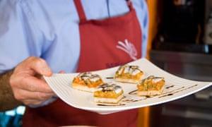 Seafood pinchos in Bar Bergara in Gros, San Sebastian, Spain.