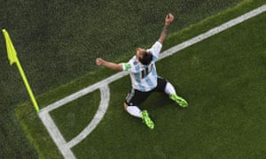 Lionel Messi celebrates his opening goal. The captain said victory was 'a huge release' for everyone in the Argentina camp.