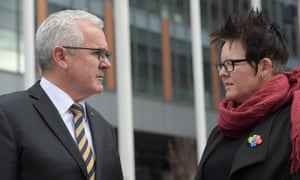 MP Andrew Wilkie and marriage equality advocate Felicity Marlowe. They have brought a challenge against the government's plan to hold a postal ballot on marriage equality.