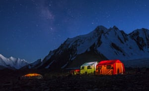 Tents At Night The K2 Mountain Base Camp
