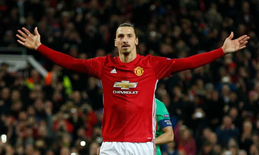Manchester United's Zlatan Ibrahimovic celebrates scoring their third goal to complete his hat-trick against St Étienne.