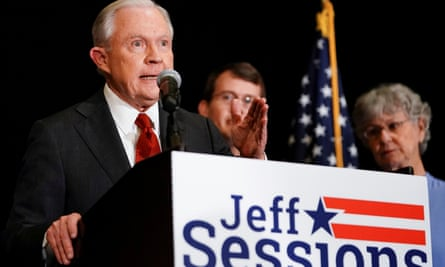Jeff Sessions speaks in Mobile, Alabama in March.