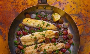 Dover Sole with Grilled Grapes by Tomos Parry. Food and prop styling by Polly Webb-Wilson The Observer's 20 best Easy Autumn recipes supplement.