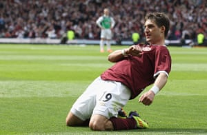 Rudi Skacel celebrates after scoring for Hearts against Hibs in the Scottish Cup final in 2012.