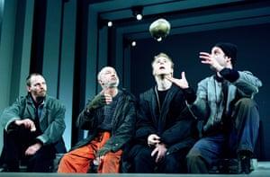 John Dougall (Horatio), Alan David (First Gravedigger), Samuel West (Hamlet) and Conor Moloney (Second Gravedigger) in Steven Pimlott's production at the Royal Shakespeare theatre, Stratford, in 2001.