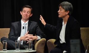Simon Birmingham and Penny Wong during an election debate at the South Australian press club on Wednesday