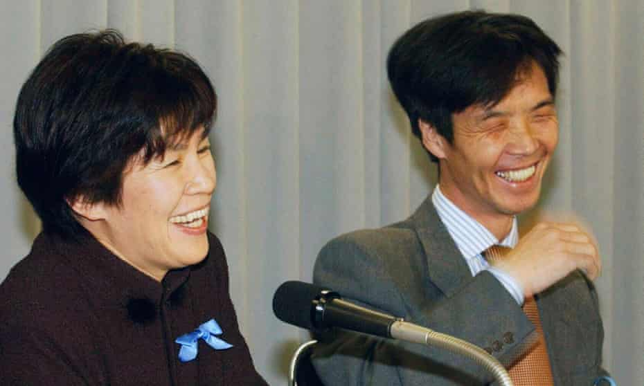 A Japanese couple kidnapped by North Korea in the 1970s speak after their release in 2002.