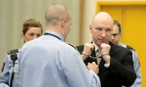 Anders Behring Breivik in the courtroom of Skien prison, Norway, 16 March.