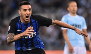 Matías Vecino celebrates after scoring the late goal against Lazio on Serie A's final day which took Internazionale into the Champions League.