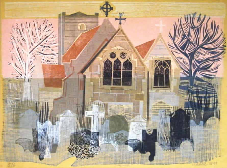 A 1979 wood-linocut by John Liddell of the church in the Dorset village of Shapwick