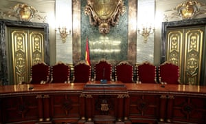 A room at the supreme court in Madrid where the trial will begin next week.