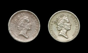 The fake £1 coin (left) and its genuine rival