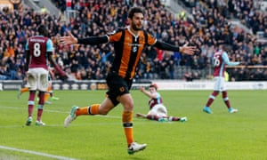 Andrea Ranocchia celebrates scoring Hull City's late winner in the 2-1 victory against West Ham.