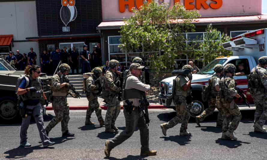 Law enforcement agencies respond to a shooting incident at a Walmart near Cielo Vista Mall in El Paso.