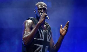 Stormzy performs at Glastonbury.