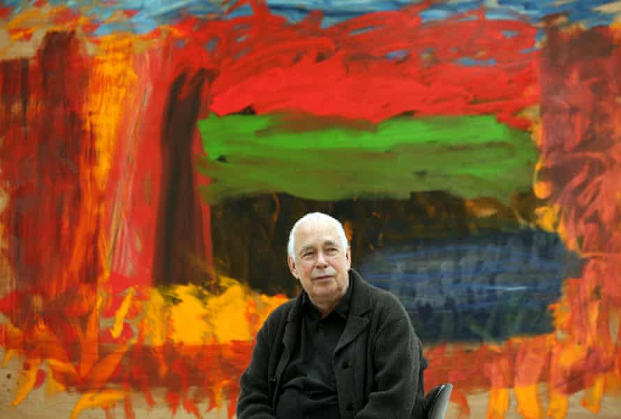 Titan of sensitivity … Howard Hodgkin sitting in front of Home, Home on the Range at the Gagosian Gallery, London, in 2008.