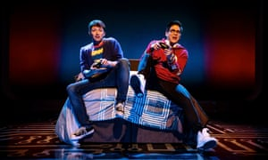 Will Roland, left, and George Salazar as Jeremy and Michael in Be More Chill.