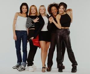 The Spice Girls in 1998. L-R Mel C (Melanie Chisolm), Geri Halliwell, Emma Bunton, Mel B (Melanie Brown), Victoria Adams