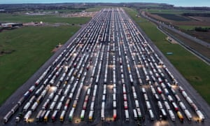 Freight lorries parked near Ramsgate. Retailers say vehicles need to begin moving within 24 hours to avoid shortages.