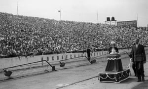 The First Division trophy is paraded at Stamford Bridge before Chelsea's opening match of the 1955/56 season, against Bolton