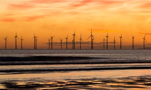 Windfarm at Seaton Carew beach near Hartlepool