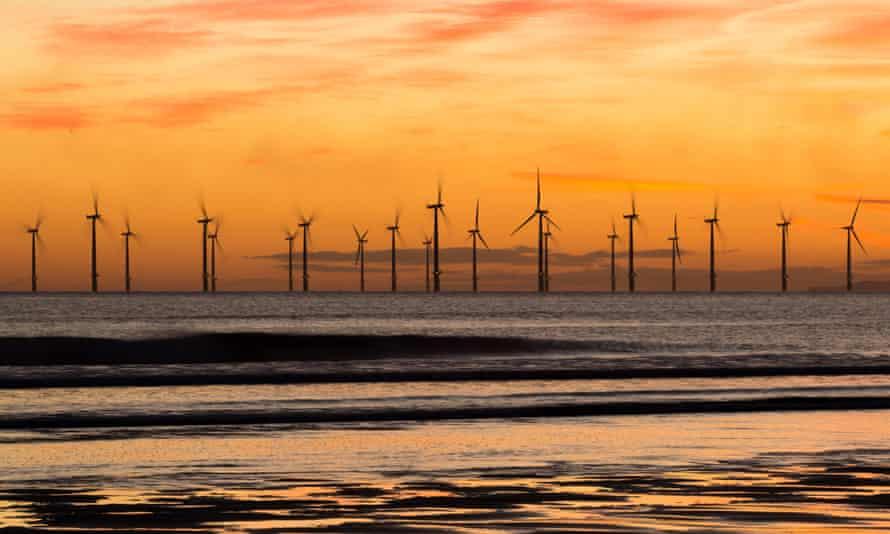 Windfarm at Seaton Carew beach near Hartlepool