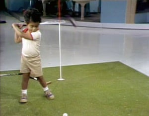 Tiger Woods aged two on US television.