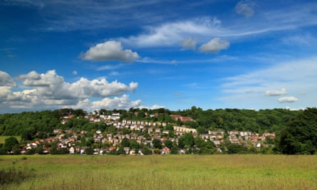 The Kent village of Biggin Hill, as seen from the green belt.