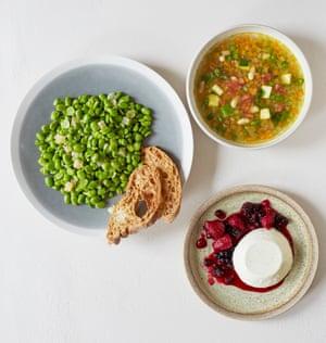 Alastair Little's broad bean and pecorino morbido salad, summer minestrone and panna cotta.