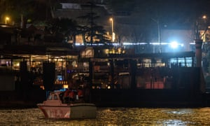 A Turkish coast guard boat is anchored on the Bosphorus near the Reina nightclub.