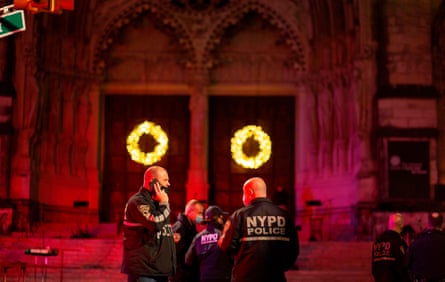 Police outside of the Cathedral of St John the Divine in New York after the shooting.