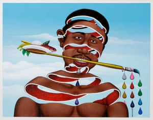 J'aime la couleur, 2004, by Chéri Samba. Chéri Samba lives and works in Kinshasa, Democratic Republic of Congo. He started out as a sign painter and also worked as a comic strip artist; when he first started making paintings he used sacking cloth as canvas was too expensive. 'My painting is concerned with people's lives' he says. 'I'm not interested in myths or beliefs. Artists must make people think.' Since the late 1980s on, he became the main subject of his works.