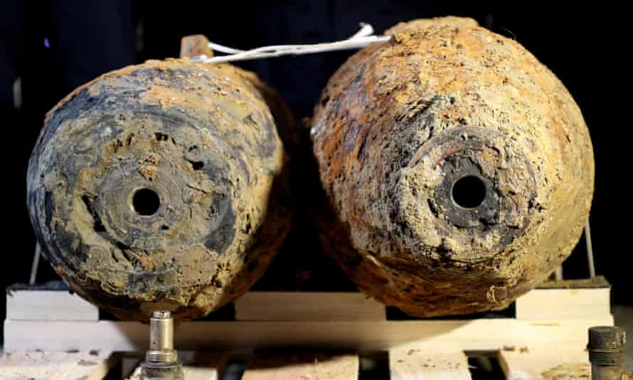 Second world war bombs recovered in Germany in 2020.