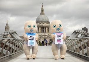 London, UK. A Peta protest for World Plant Milk Day on the Millennium Bridge