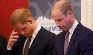 princes Harry and William looking gloomy
